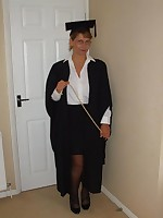 British busty MILF dressed as a school mistress
