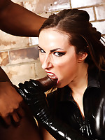 Paige Turnah slips into a skin tight PVC outfit and then takes a monster black dick in her mouth and tight pussy.