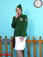 Heavenly blonde Sergeant Amy Green has an embarrassing time when all her clothes are blown away by passing trains