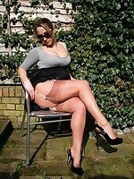 Flashing my stockings outside in the sun